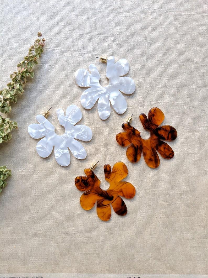 Acetate Hoop Earrings White Pearl Magnolias
