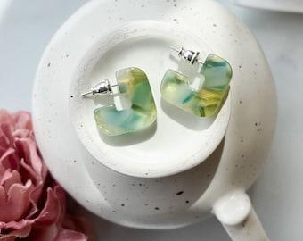 Mini Geo Hoops in Dew Drop | Green Blue Gold Geometric Square Hoop Earrings Sterling Silver Posts