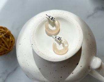 Huggie Hoops in Lotus | 15mm Light Cream Pearl Hoop Minimalist Earrings 925 Silver Posts