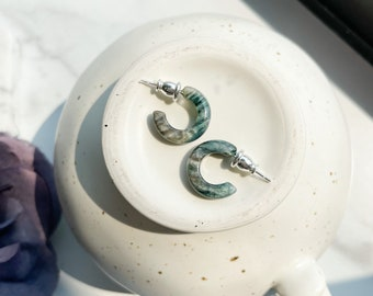 Huggie Hoops in Moss | Tiny Small Green and Gray Pearl Hoop Earrings 925 Sterling Silver Posts