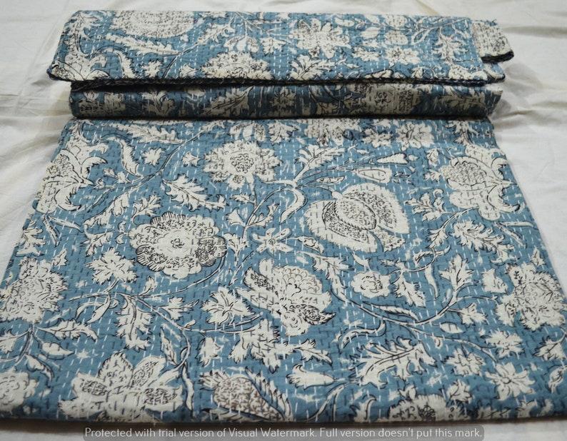 Handmade Throw 100/% Cotton Indian Hand Block Print Printed Vintage Home Decor 90x108 Inches Blanket Kantha Quilt Bedspread Gudari Queen New