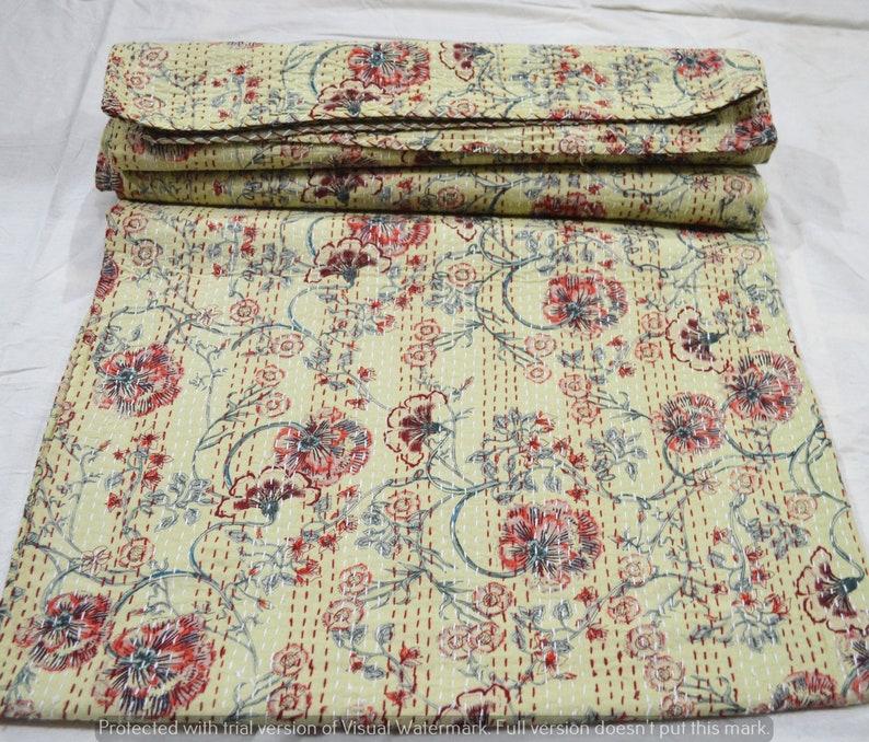 Indian Hand Block Print Printed Kantha Quilt Bedspread Gudari Queen New Vintage Home Decor 90x108 Inches Handmade Throw 100/% Cotton Blanket