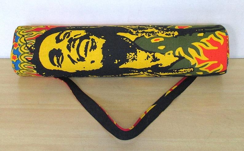 66 Cms. Approx Yellow Bob Marley Bag Indian Handmade Hippie Mandala Yoga Mat Carrier Gym Bag Shoulder Strap Unisex Yoga Mat Bag 26 Inch