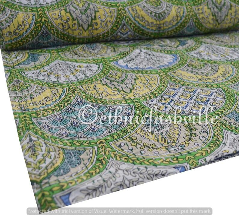 Indian Bedspread Throw 100/% Cotton Blanket Gudari New Hand Block Print Printed Vintage Home Decor 90x108 Inches Handmade Kantha Quilt