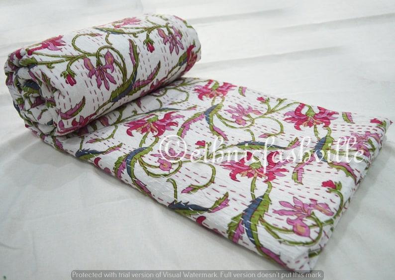 Bedspread Home Decor 90x108 Inches New Indian Throw Hand Block Print Printed Vintage 100/% Cotton Blanket Gudari Queen Handmade Kantha Quilt