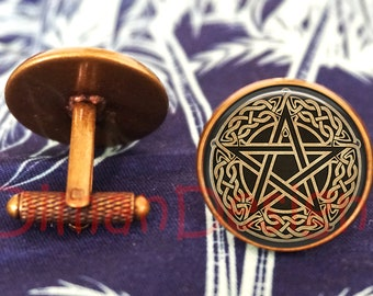 pentagram pagan cufflinks choice of colour