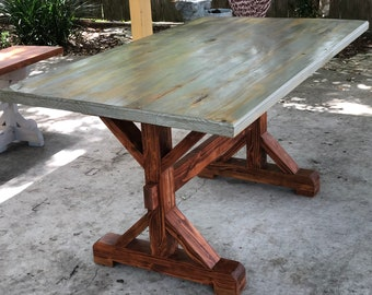 Farmhouse Trestle Table | Rustic | Pickup Only Or Upto 125 Mile Free  Delivery | Victoria, TX