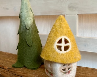 felt-happy cottage with lighting and mustard yellow roof - small