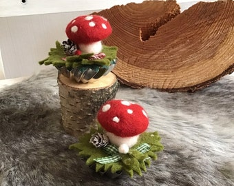 cute table decoration made of felt with lucky mushrooms