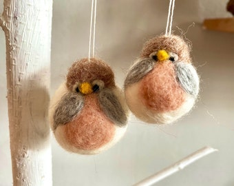 Small hand felted bird to hang for your summer decoration