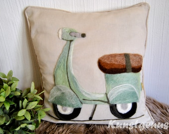 Pillow cover with felted Vespa... Scooter