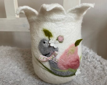 felted windlight with funny snail big art pleasure