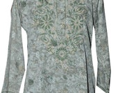 New Floral Hand Embroidery Indian Kurti Ethnic Cotton Crep Mix Short Hand Embroidery Top with Fine Work
