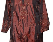 Hand Embroidery Indian Kurti Ethnic Silk Long Hand Embroidery Top with Fine Work