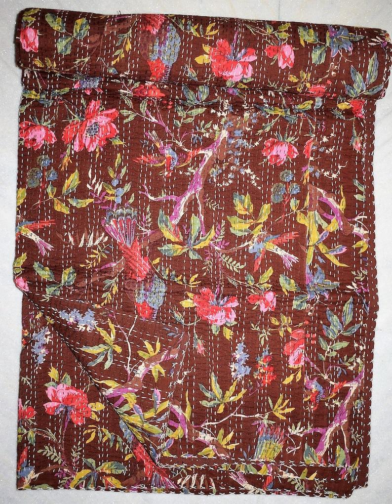Brown Bird Print King Size Kantha Quilt Kantha Blanket Bed Cover King Kantha Bedspread Bohemian Bedding Kantha Size 90 Inch X 108 Inch