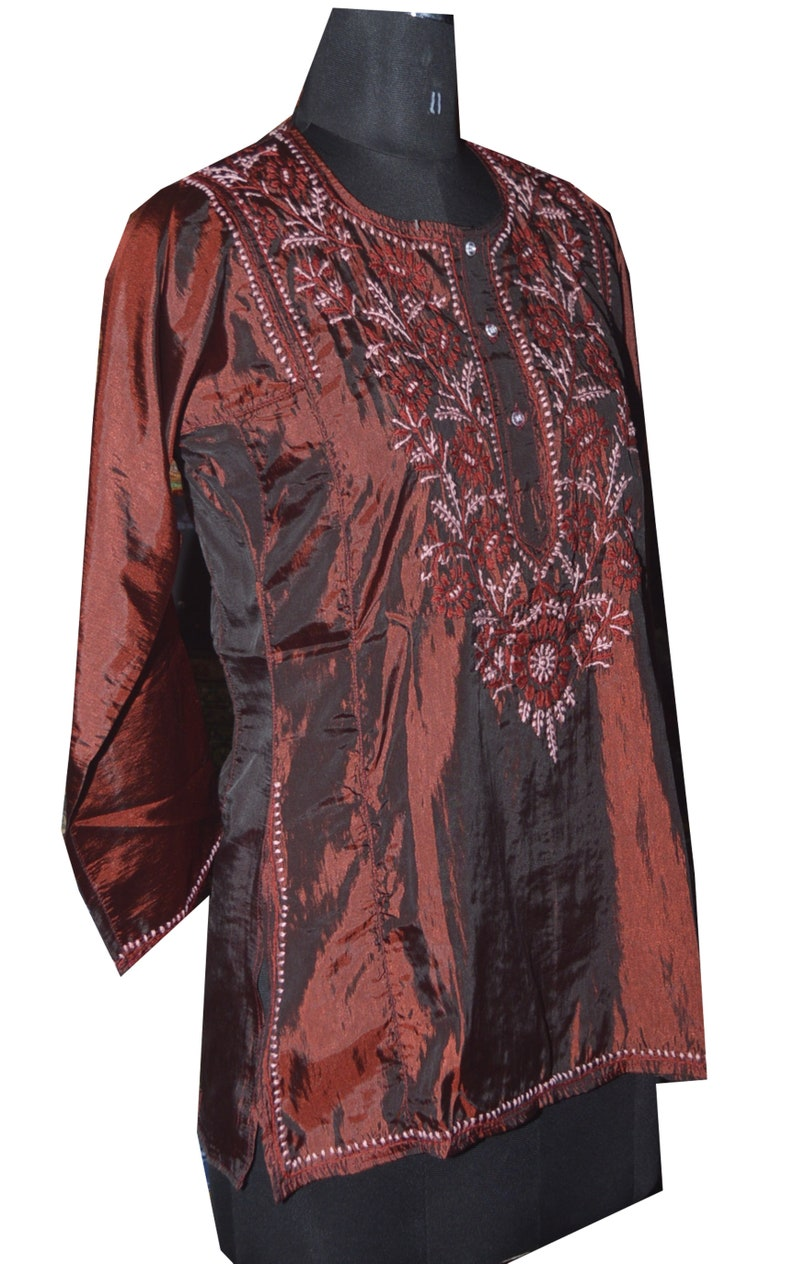 Hand Embroidery Indian Kurti Ethnic Silk Short Hand Embroidery Top with Fine Work