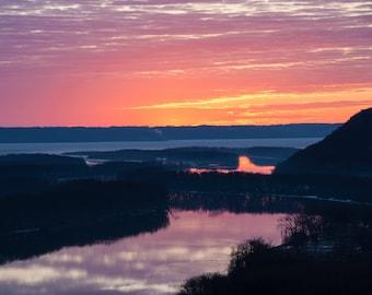 Red Wing Minnesota Fiery Gold Sunrise, Midwest Photo, Fine Art Photography, Digital Prints, Downloadable Wall Art, Digital photos