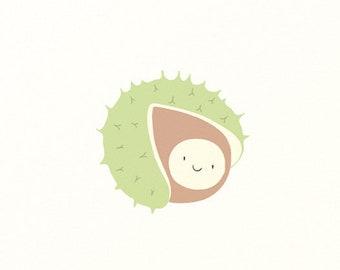 Birth Card Chestnut - Baby Card - Nostalgic Postcard - Autumn Card - Seasonal Table Autumn