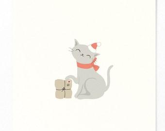 Christmas card cat with Christmas hat, bow and gift - nostalgic postcard Christmas