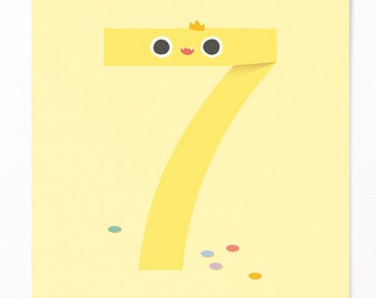 Birthday Card Child 7 Years Old - Number Seven with Confetti - Invitation Children's Birthday - Anniversary Card - NEW!