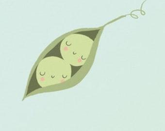 Birth Card Twins - Peas in Pod - Congratulations Baby Birth - Best Friends