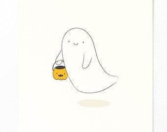 Halloween Postcard - Cute Spirit with Pumpkin - Sweet or Sour - Invitation Halloween Party