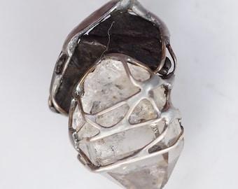 Meteorite Herkimer Diamond Pendant