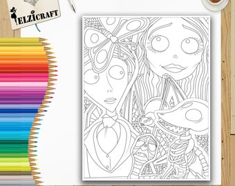 Coloring Halloween Page Printable Corpse Bride Zombie Pages Instant Download Digital Art Holiday Adult Book