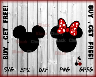 Mickey Minnie SVG, Mickey Head SVG, Disney Mickey SVG Cut table Design,svg,dxf,png Use With Silhouette Studio & Cricut_Instant Download