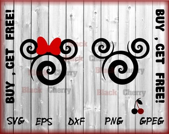 Swirl Mickey Svg - Disney SVG - Mickey SVG File - Minnie Svg, Vinyl Cutting File, Minnie DXF File, Mickey Silhouette, Cricut, Disney Dxf