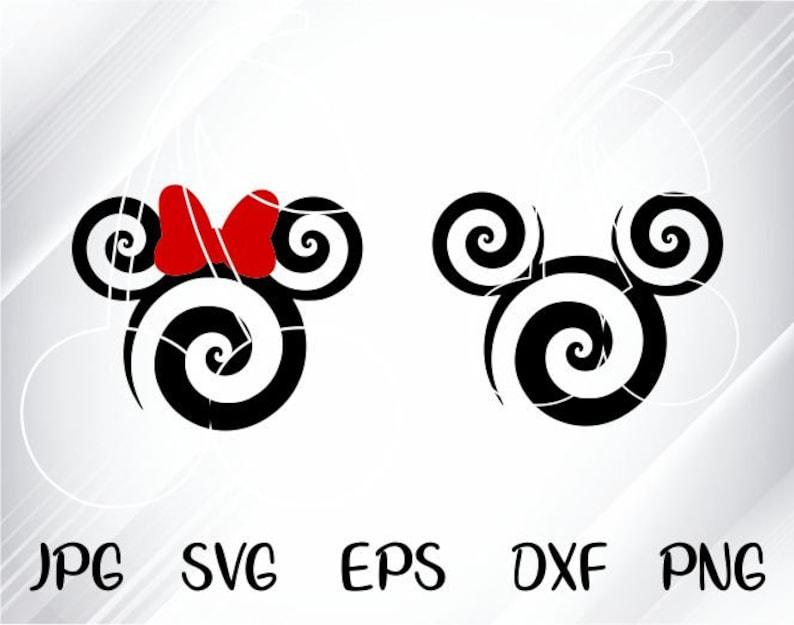 Swirl Mickey Svg - Disney SVG - Mickey SVG File - Minnie Svg, Vinyl Cutting  File, Minnie DXF File, Mickey Silhouette, Cricut, Disney Dxf