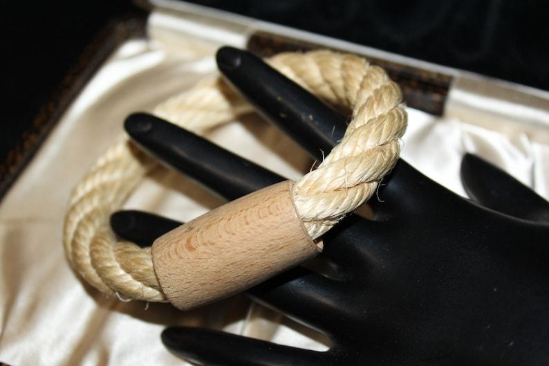 Vintage Mint Lovely Wood Twisted Rope Bangle Bracelet