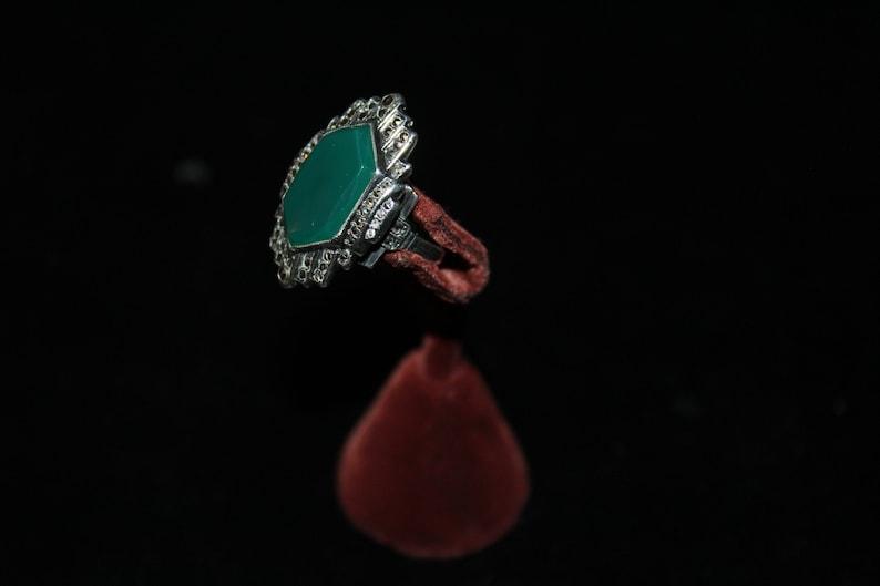 Antique Art Deco Sterling Silver Chrysoprase Marcasites Hallmark Exquisite Ring