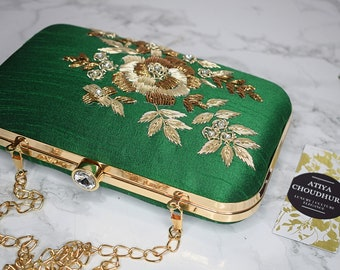 a67bff02942 Green Silk Zardozi and thread-work clutch, hand embroidery, hand  embellished, hand crafted, embroidered, party bag,