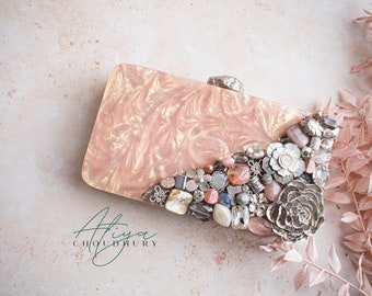 Double zipper clutch Gold glitter vinyl Zipper pouch with front zip pocket gold bees on white marble