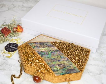 5affdc3688 Mother of Pearl Geometric Clutch