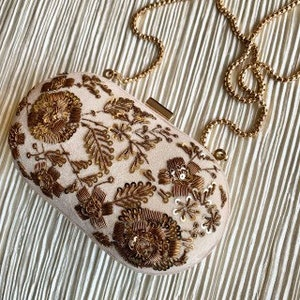 embroidered hand embroidery hand crafted Golden Beige Silk double sided embroidery hand embellished party bag,