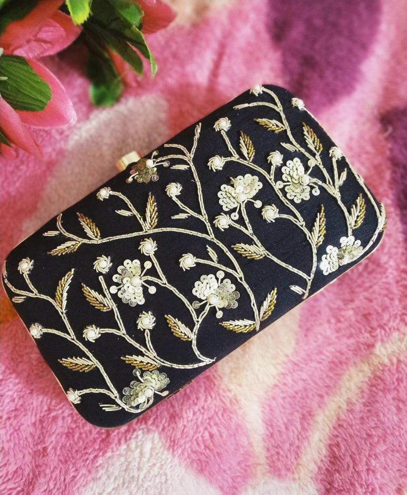 878e951e839 Black embellished clutch, hand embroidery, hand embellished, hand crafted,  embroidered, party bag,