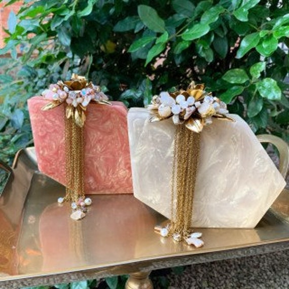 Resin Stone Marble look Bride clutch Designer clutch Mother of pearl Wedding clutch Handmade purse luxury wedding clutch