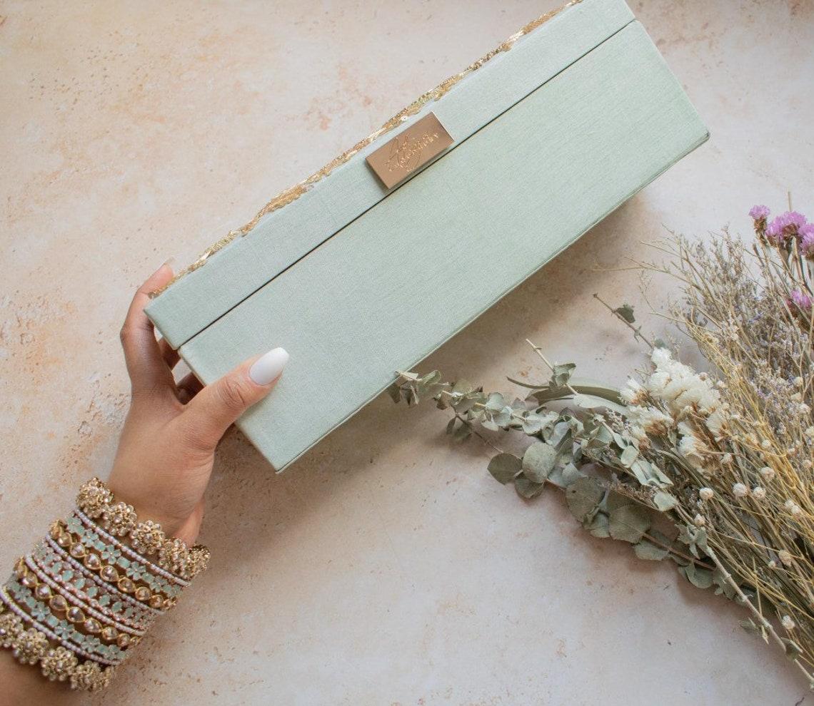 ANAYA Bangle Box Mint Silk bridal trousseau Indian
