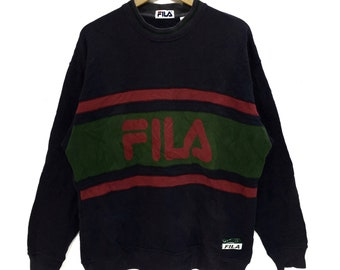 e9ac889813be Vintage FILA BIELLA ITALIA Sweatshirt Big Logo Spell Out Pullover Jumper  Running Gym Casual Classic Street Wear Crewneck Sweater