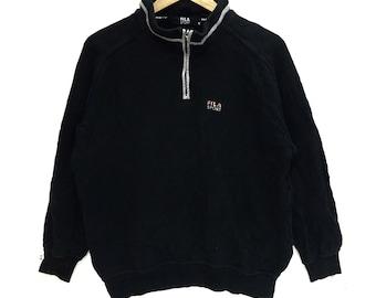 c2332cadc0c8 Vintage FILA SPORT Sweatshirt Minimalist Logo Pullover Jumper Running Gym  Casual Classic Street Wear Half Zip Sweater