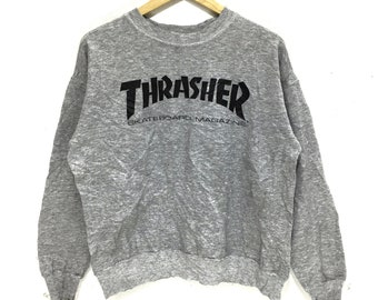 766e5ca3279 Vintage THRASHER SKATEBOARD MAGAZINE Sweatshirt Big Logo Spell Out Pullover  Jumper Gray Color Sweater Size M