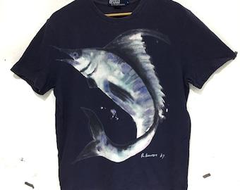 0150b150814 Vintage POLO RALPH LAUREN 1967 Big Fish Logo T Shirt Sport Blue