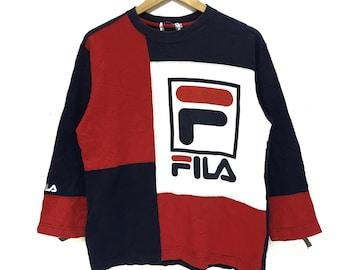 1668e26b8c30 FILA BIELLA ITALIA Sweatshirt Big Logo Spell Out Pullover Jumper Running  Gym Casual Classic Street Wear Multicolor Sweater