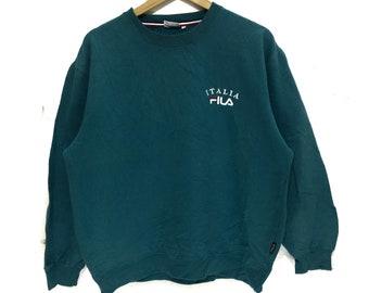 1557628d1a28 FILA BIELLA ITALIA Sweatshirt Running Gym Jumper Small Logo Spell Out  Casual Classic Sweater