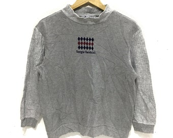d777bf865c8d SERGIO TACCHINI ITALY Sweatshirt Big Logo Spell Out Hooligan Football Wear Pullover  Jumper Casual Classic Tennis Gray Color Sweater