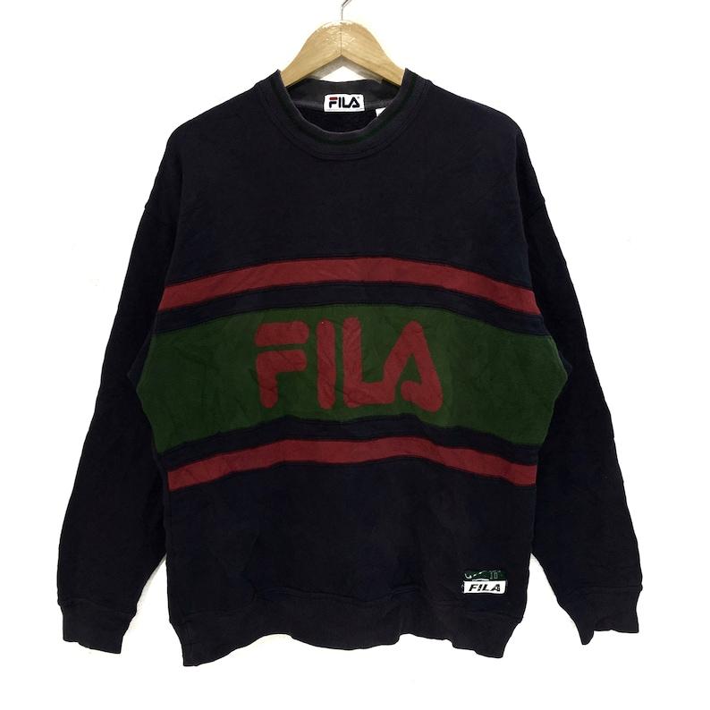 55f8ae8dffc9 Vintage FILA BIELLA ITALIA Sweatshirt Big Logo Spell Out