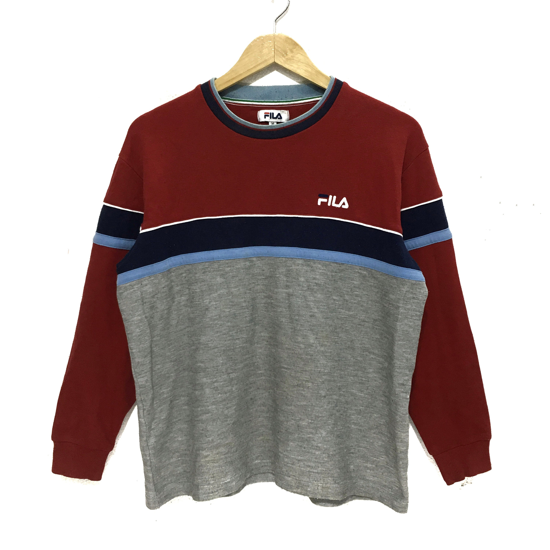 67096d759bc8 FILA BIELLA ITALIA Sweatshirt Minimalist Logo Gray Red Color