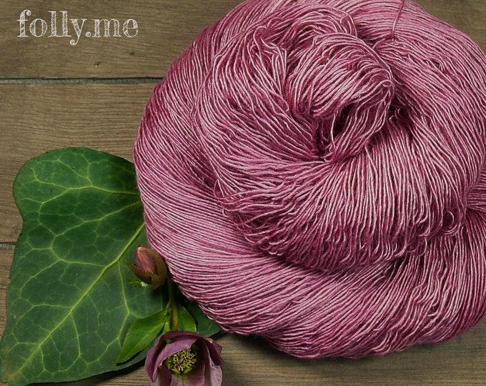 PINKEY PAKO - 115gr Merino Alpaka Seiden Singlesgarn (100gr/EUR 23,04), natürlich handgefärbtes Edelgarn, mit Pflanzen gefärbt